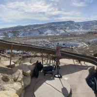 large slide, mountain view