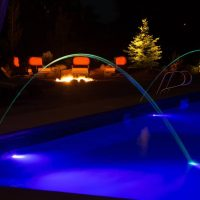 blue pool water feature