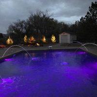 purple pool lights, water feature