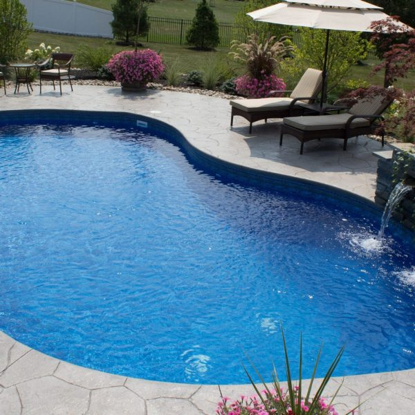 saltwater pool with waterfall