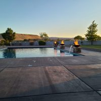 pool water feature, pool fire feature, water and fire pool